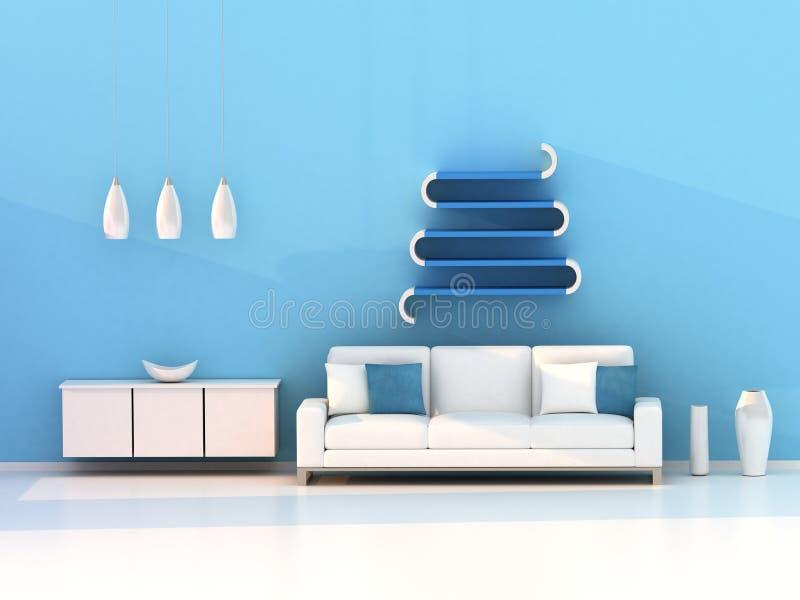 Salle de séjour bleue, pièce moderne illustration stock