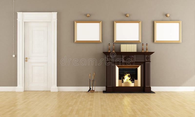 Salle de séjour classique avec la cheminée illustration de vecteur
