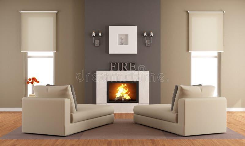 Salle de séjour contemporaine avec la cheminée illustration stock
