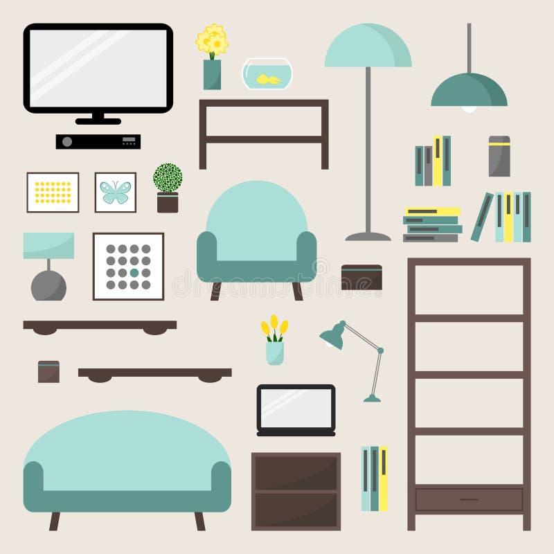 Salle de séjour Ensemble d'éléments de salon illustration de vecteur