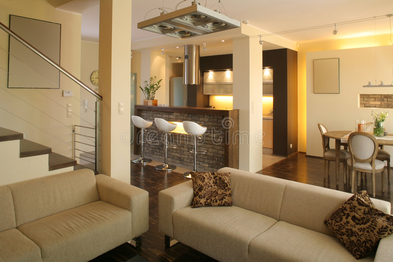 Salle de séjour et cuisine modernes photos libres de droits