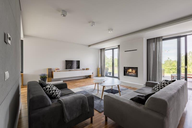 Salle de séjour luxueuse avec la cheminée images libres de droits
