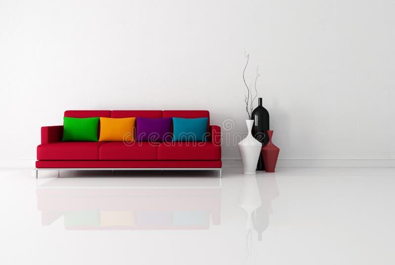 Salle de séjour minimaliste lumineuse illustration libre de droits