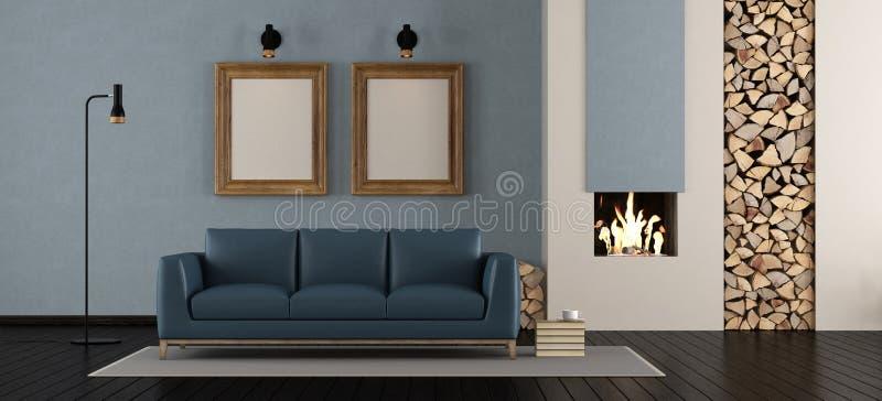 Salle de séjour moderne avec la cheminée illustration stock
