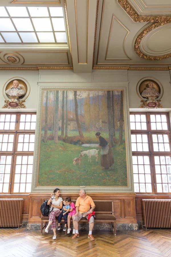 Salle Henri Мартин в Capitole de Toulose стоковые фотографии rf