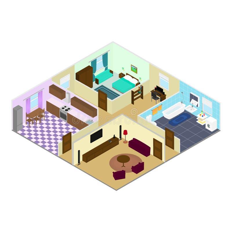 Salles à l'intérieur de la maison illustration libre de droits