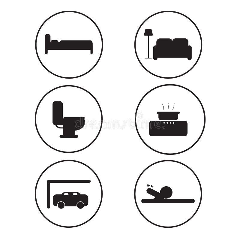 Salles faciles d'icône dans la maison illustration de vecteur