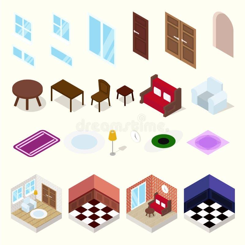 Salles isométriques avec des meubles illustration stock