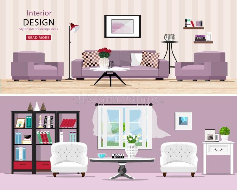 Salles mignonnes réglées : salons classiques et modernes confortables avec des meubles illustration de vecteur
