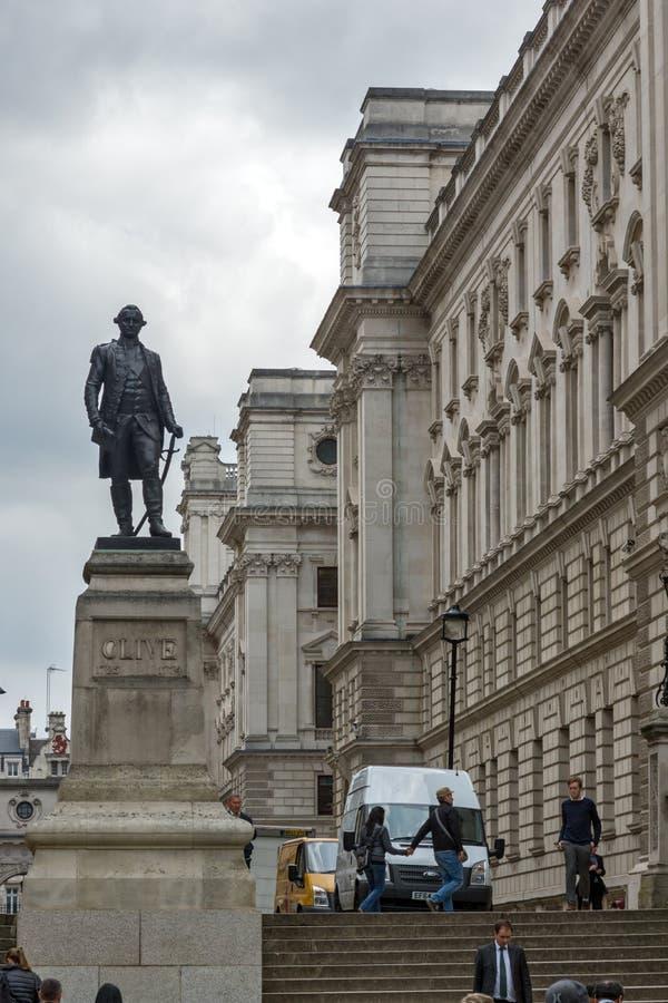 Salles 'opérations renseignement' et Robert Clive Memorial de Churchill vus de la rue du Roi Charles à Londres, Angleterre, G photo stock