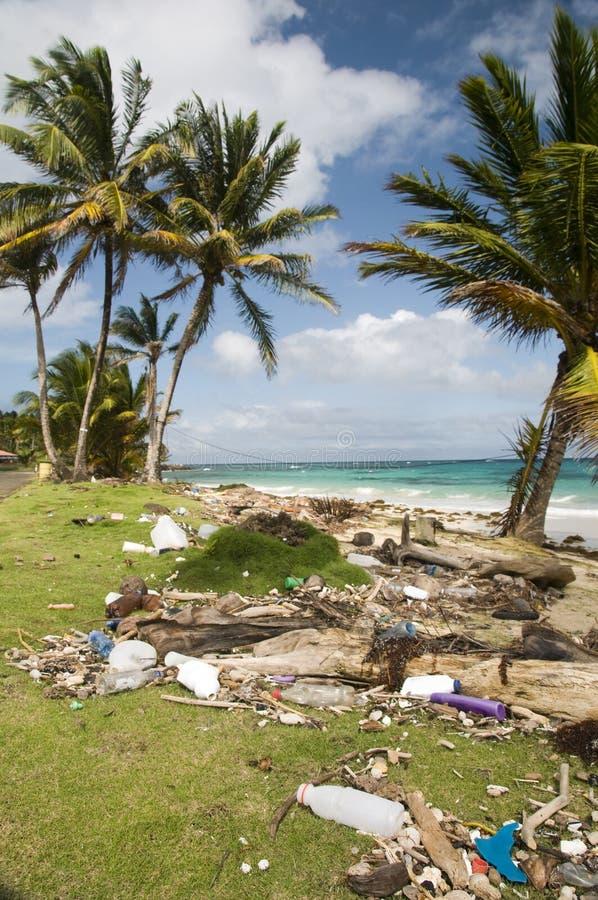 Sallie beach litter corn island nicara stock image