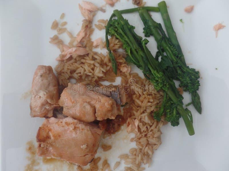 Salmões de Teriyaki com arroz wholegrain e brócolis macios da haste imagem de stock royalty free