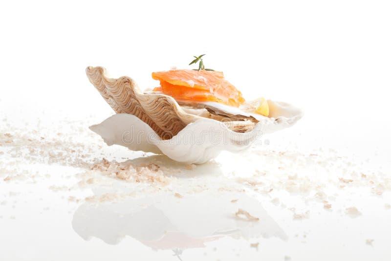 Salmões. Fundo culinário do marisco. fotografia de stock