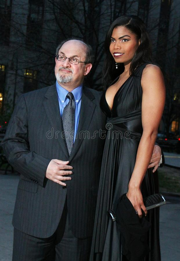 Salman Rushdie. Author Salman Rushdie arrives at the Vanity Fair Party for the 8th Annual Tribeca Film Festival at 60 Centre Street in Lower Manhattan on April stock photos