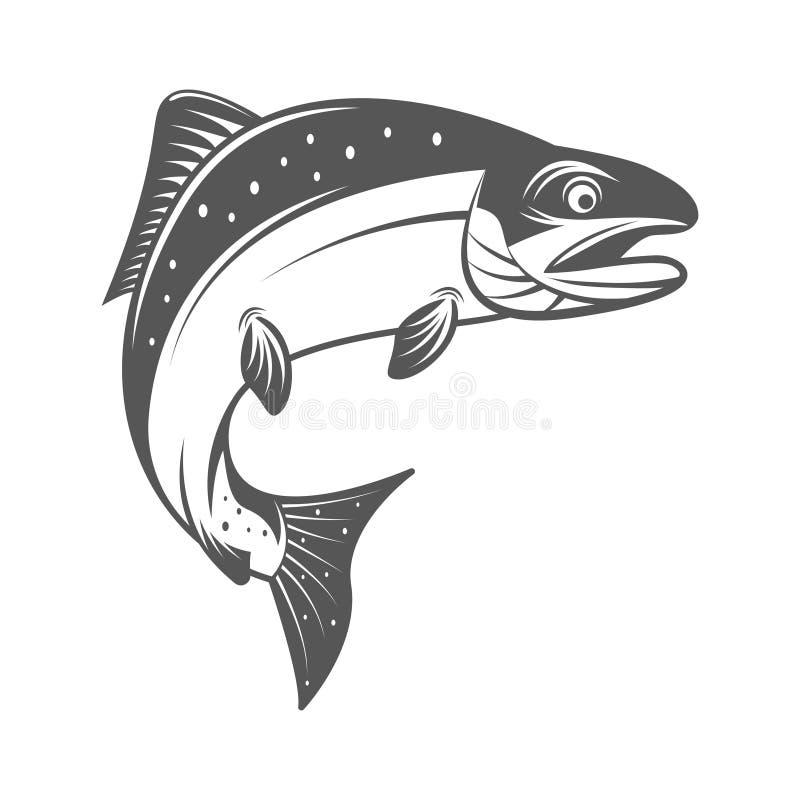 Salmon иллюстрация вектора рыб в monochrome винтажном стиле Конструируйте элементы для логотипа, ярлыка, эмблемы бесплатная иллюстрация