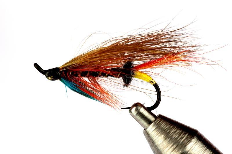 Salmon муха рыбной ловли на мухе связывая тиски изолированные на белизне стоковые фото