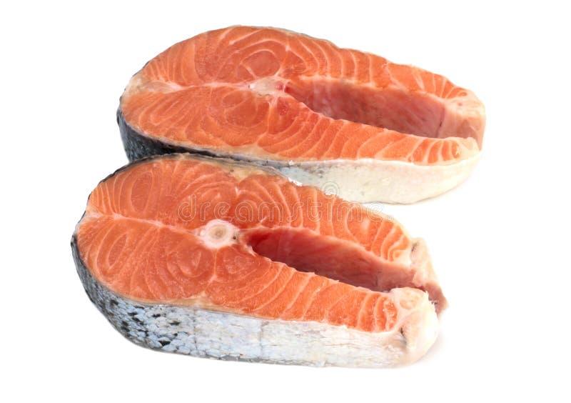 Salmon стейк изолированный на белой предпосылке стоковые фото