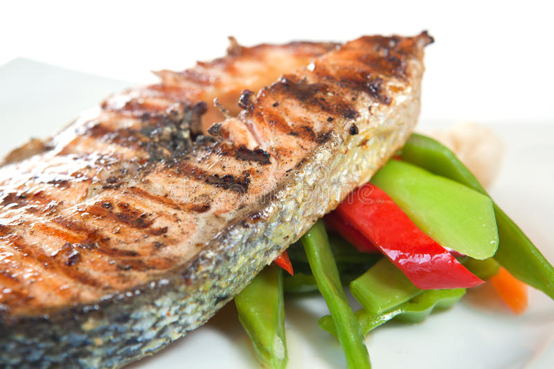 Download Salmon stock photo. Image of meal, cooked, barbecue, salad - 16540756