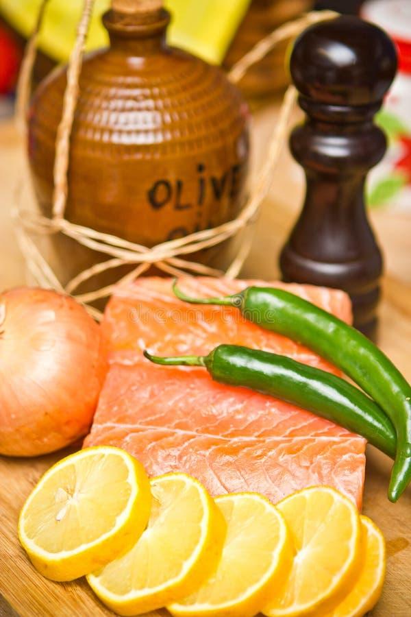 Download Salmon stock photo. Image of pepper, onion, board, lemon - 23329934