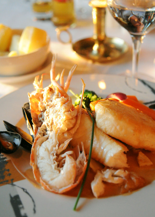 Free Salmon And Lobster Dish Stock Photo - 5686450