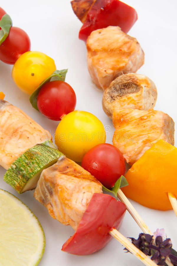 Free Salmon And Vegatable Skewers Stock Image - 16431841