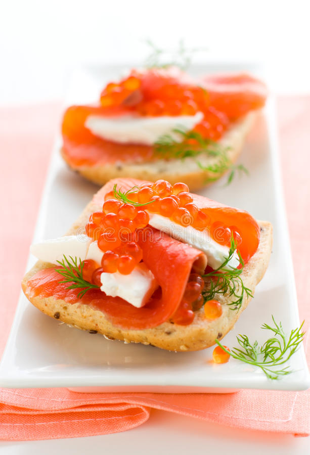 Download Salmon Appetizer With Red Caviar Stock Photo - Image: 13411624
