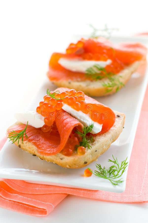Free Salmon Appetizer With Red Caviar Royalty Free Stock Photos - 13422648
