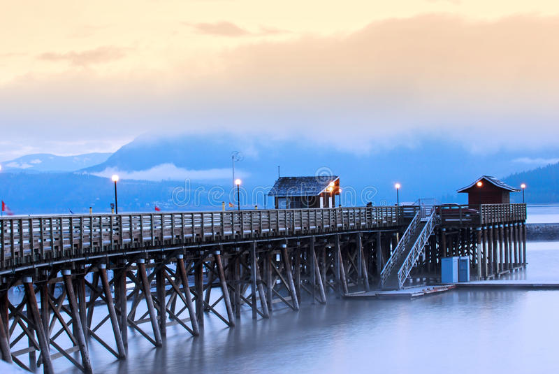 Salmon Arm, Canada. Wharf on Shuswap lake at sunset,Salmon Arm,Canada royalty free stock photos