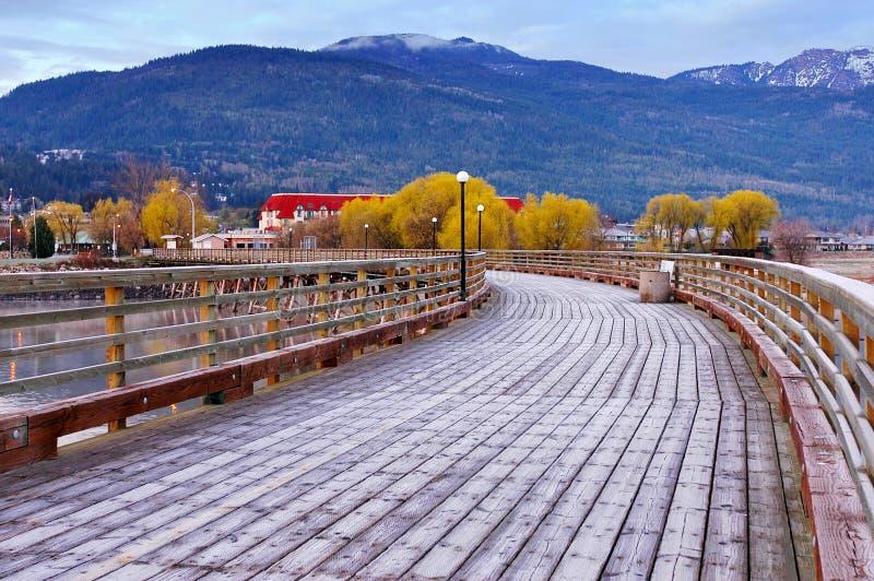 Salmon Arm, Canada. Wharf on Shuswap lake in autumn season,Salmon Arm,Canada stock image