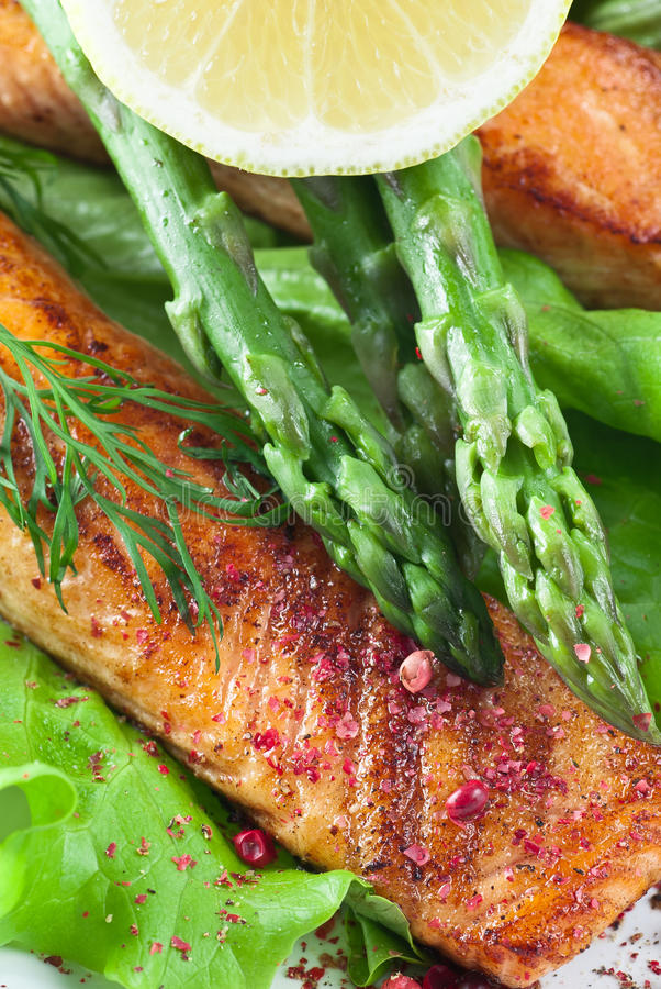 Salmon Asparagus Meal royalty free stock images