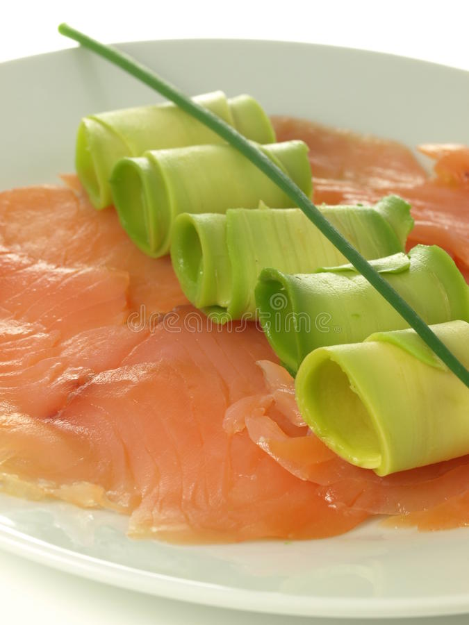 Salmon, avocado, chive stock image