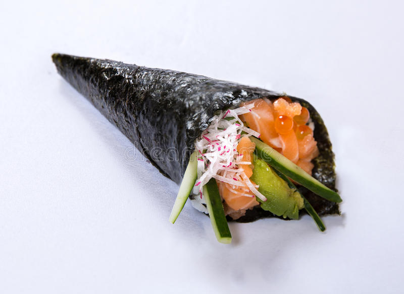 Salmon Avocado Hand Roll Temaki stock image