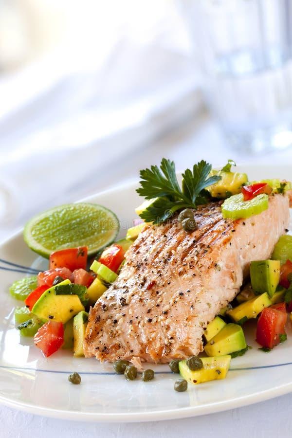 Download Salmon with Avocado Salsa stock image. Image of avocado - 19050047