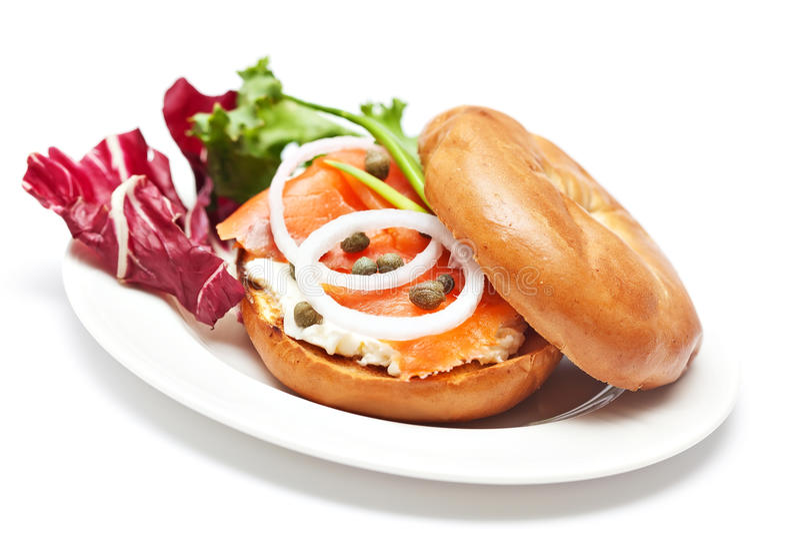 Salmon Bagel Sandwich fotos de stock royalty free