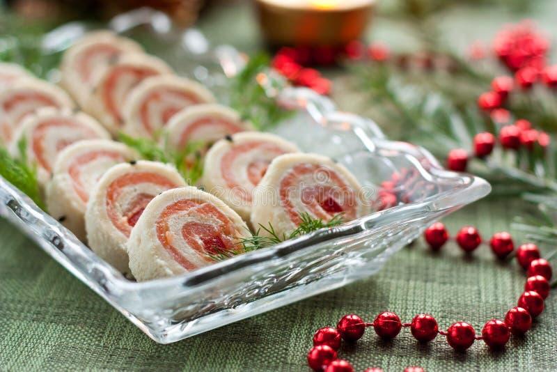 Salmon Bread Rolls Appetizers Stock Image