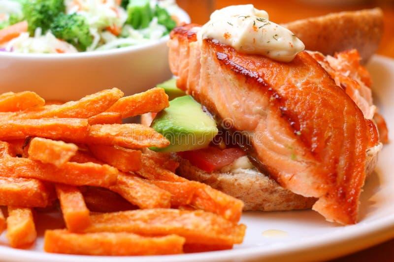 Salmon Burger with Aioli Sauce stock photos