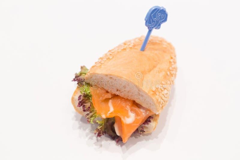 Salmon burger stock image