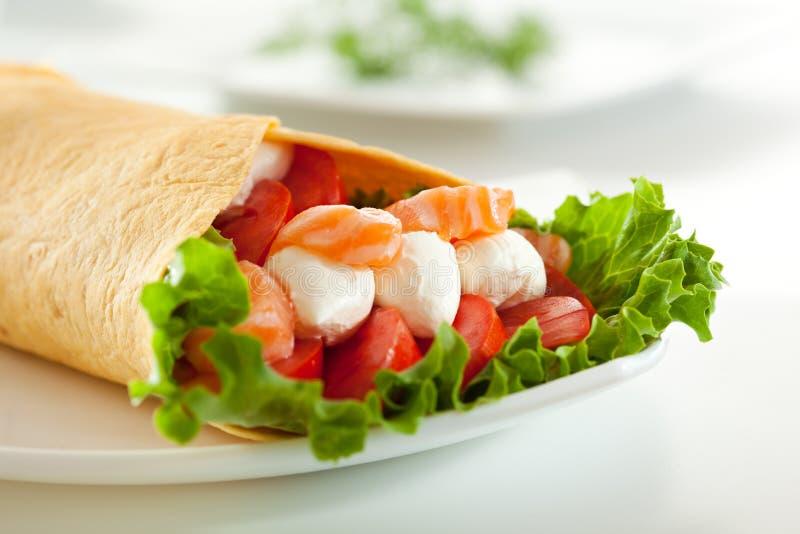 Salmon Burrito fotografia stock