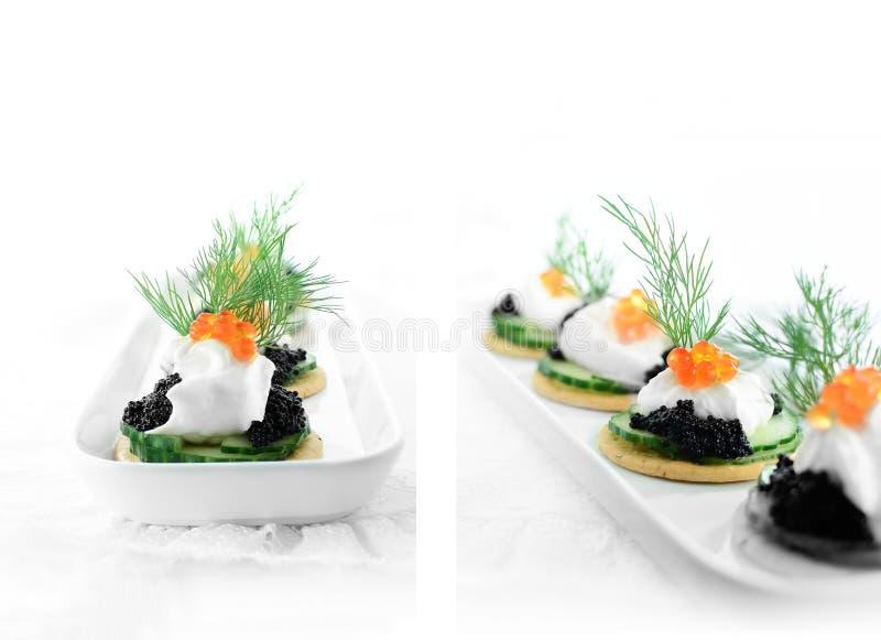 Salmon Caviar Canapes imagen de archivo