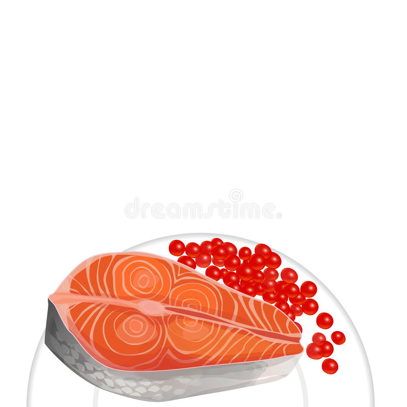 Salmon and caviar on a plate, blank space for your text stock illustration