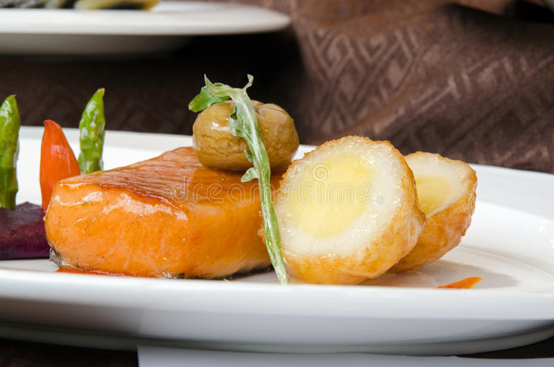 Salmon with chestnut royalty free stock images