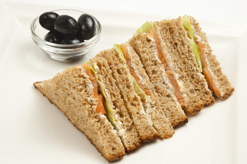 Salmon club sandwiches stock images