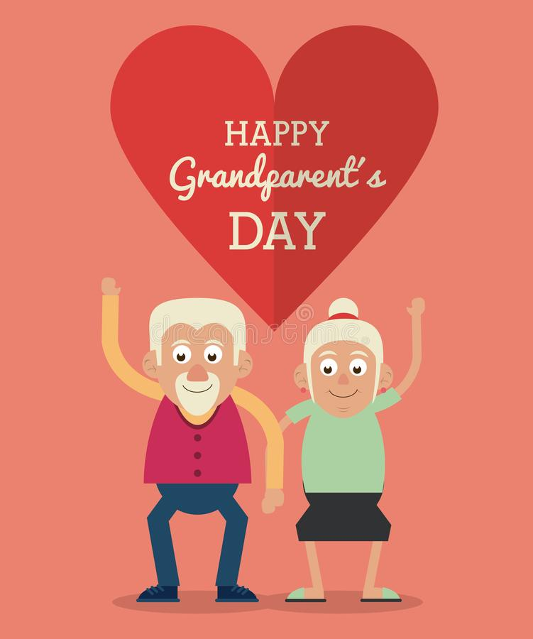 Salmon color card and heart background with text happy grandparents day with elderly couple holding hands and greeting. Vector illustration royalty free illustration