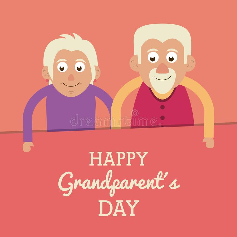 Salmon color card with text happy grandparents day with half body elderly couple. Vector illustration royalty free illustration