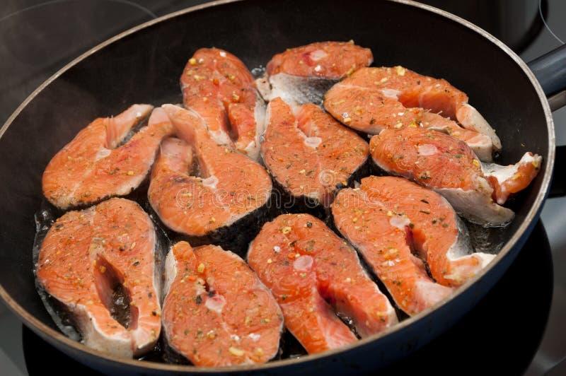 Salmon cooking royalty free stock image
