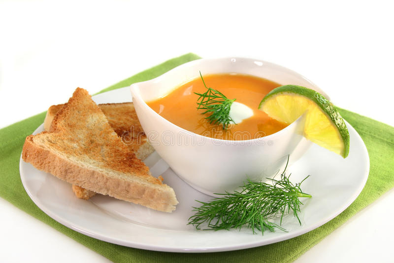 Salmon cream soup royalty free stock photo