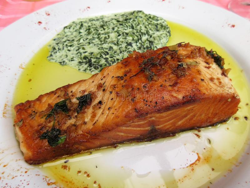 Salmon With Creamed Spinach royaltyfri foto