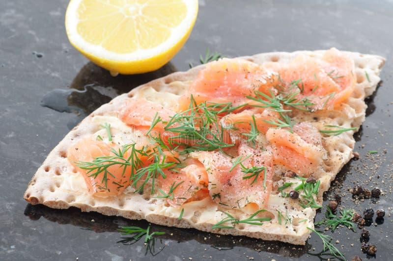 Salmon On Crispbread stock photo