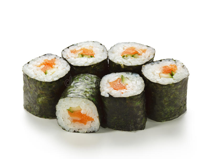 Download Salmon and Cucumber Roll stock photo. Image of sake, maki - 11842154