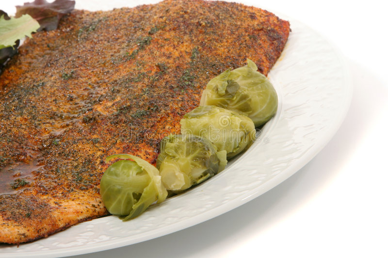 Salmon dinner. Plate of salmon dinner with brussel sprouts and salad greens royalty free stock photos